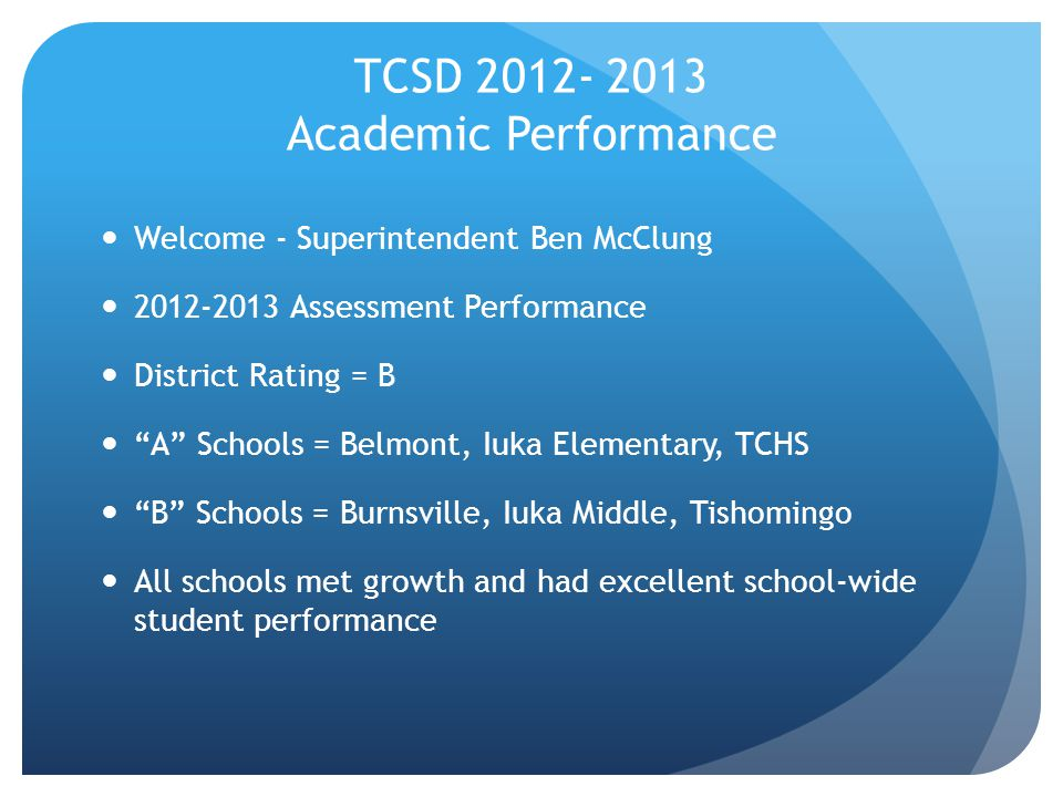 TCSD 2012- 2013 Academic Performance Welcome - Superintendent Ben McClung 2012-2013 Assessment Performance District Rating = B A Schools = Belmont, Iuka Elementary, TCHS B Schools = Burnsville, Iuka Middle, Tishomingo All schools met growth and had excellent school-wide student performance