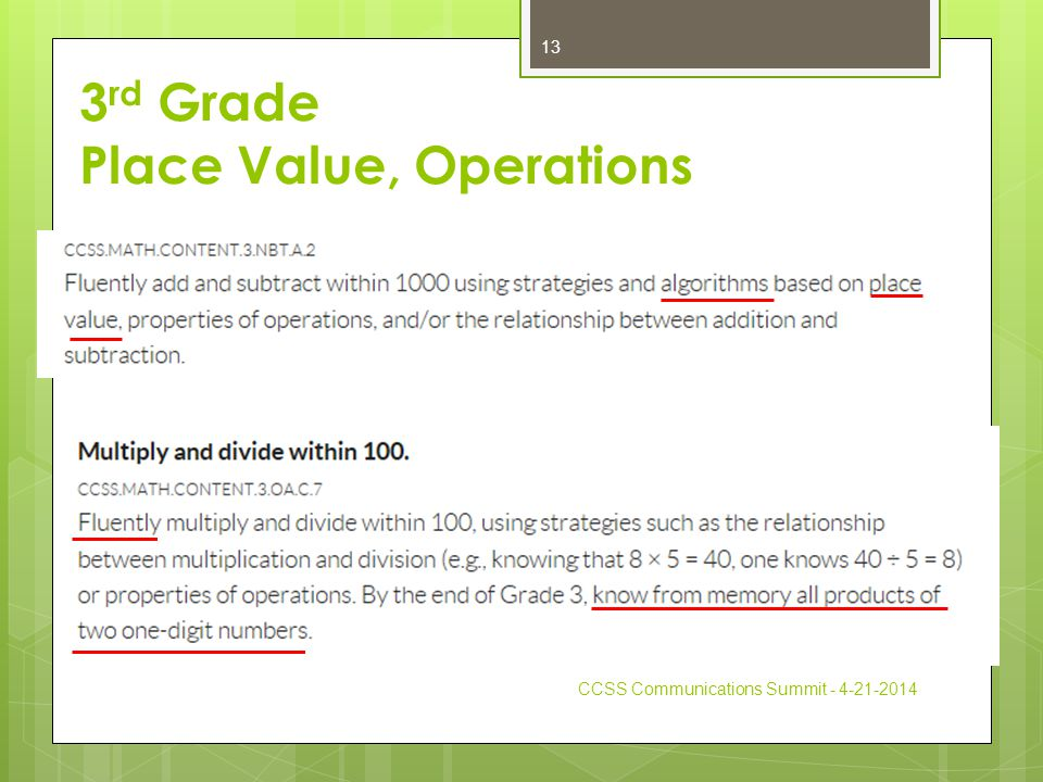 3 rd Grade Place Value, Operations CCSS Communications Summit - 4-21-2014 13