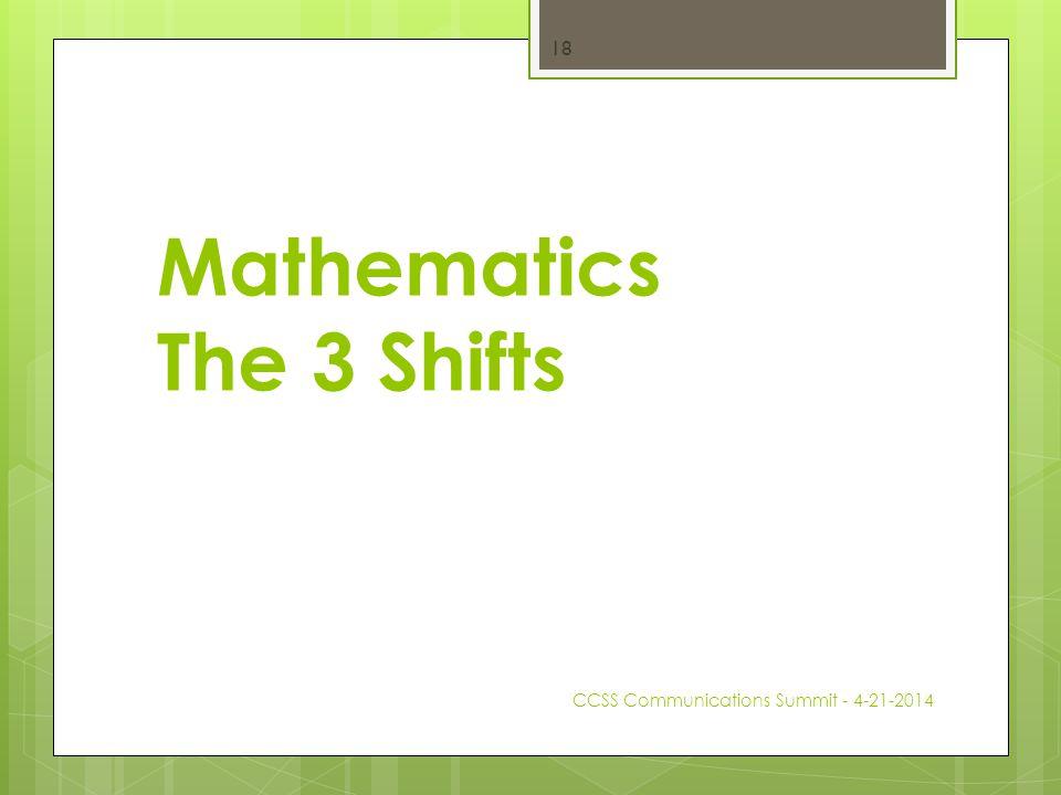 Mathematics The 3 Shifts CCSS Communications Summit - 4-21-2014 18