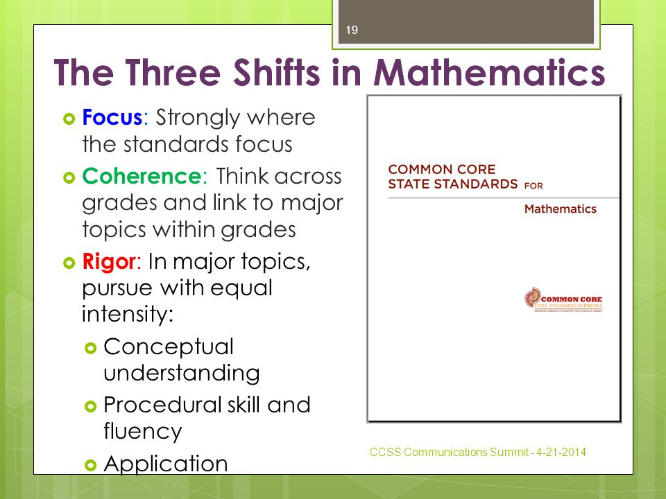 The Three Shifts in Mathematics  Focus : Strongly where the standards focus  Coherence : Think across grades and link to major topics within grades  Rigor : In major topics, pursue with equal intensity:  Conceptual understanding  Procedural skill and fluency  Application CCSS Communications Summit - 4-21-2014 19