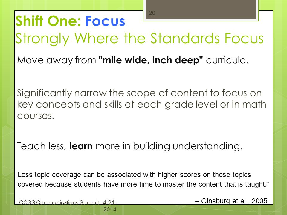 Shift One: Focus Strongly Where the Standards Focus Move away from mile wide, inch deep curricula.
