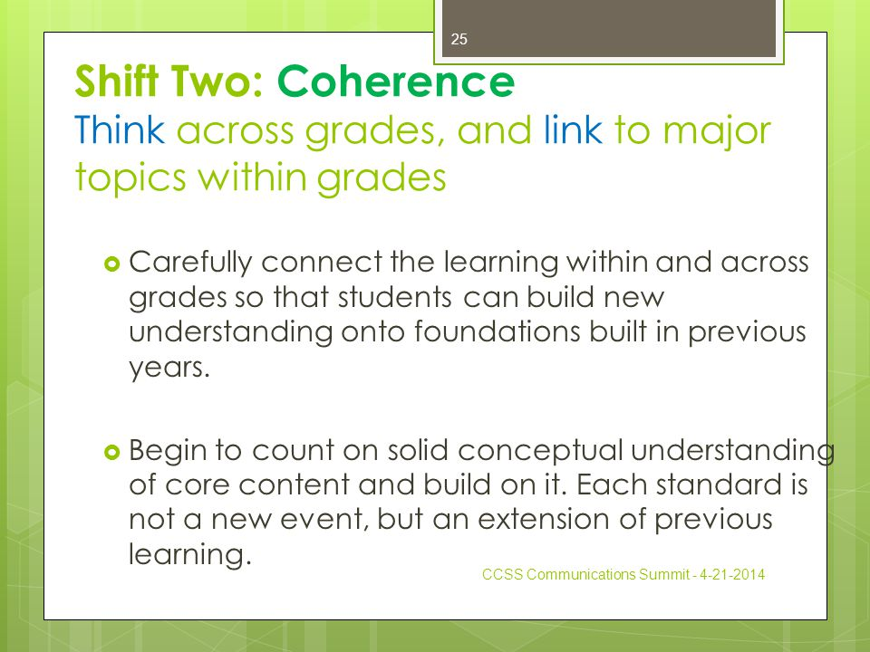 Shift Two: Coherence Think across grades, and link to major topics within grades  Carefully connect the learning within and across grades so that students can build new understanding onto foundations built in previous years.