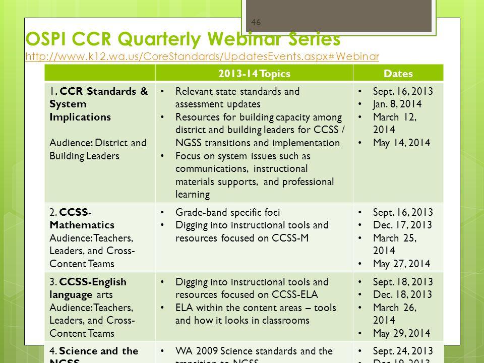 OSPI CCR Quarterly Webinar Series http://www.k12.wa.us/CoreStandards/UpdatesEvents.aspx#Webinar http://www.k12.wa.us/CoreStandards/UpdatesEvents.aspx#Webinar CCSS Communications Summit - 4-21-2014 46 2013-14 TopicsDates 1.