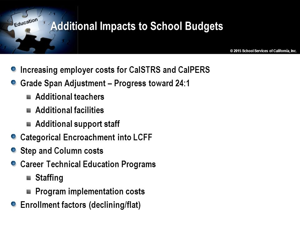 Additional Impacts to School Budgets Increasing employer costs for CalSTRS and CalPERS Grade Span Adjustment – Progress toward 24:1 Additional teacher