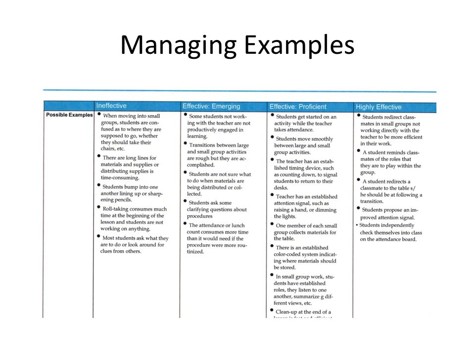 Managing Examples