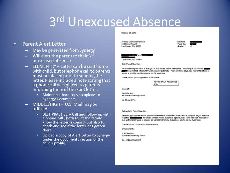 5 th Unexcused Absence Parent Notification of Conference Letter – JHB – E2 Upload a copy to Synergy on the documents section