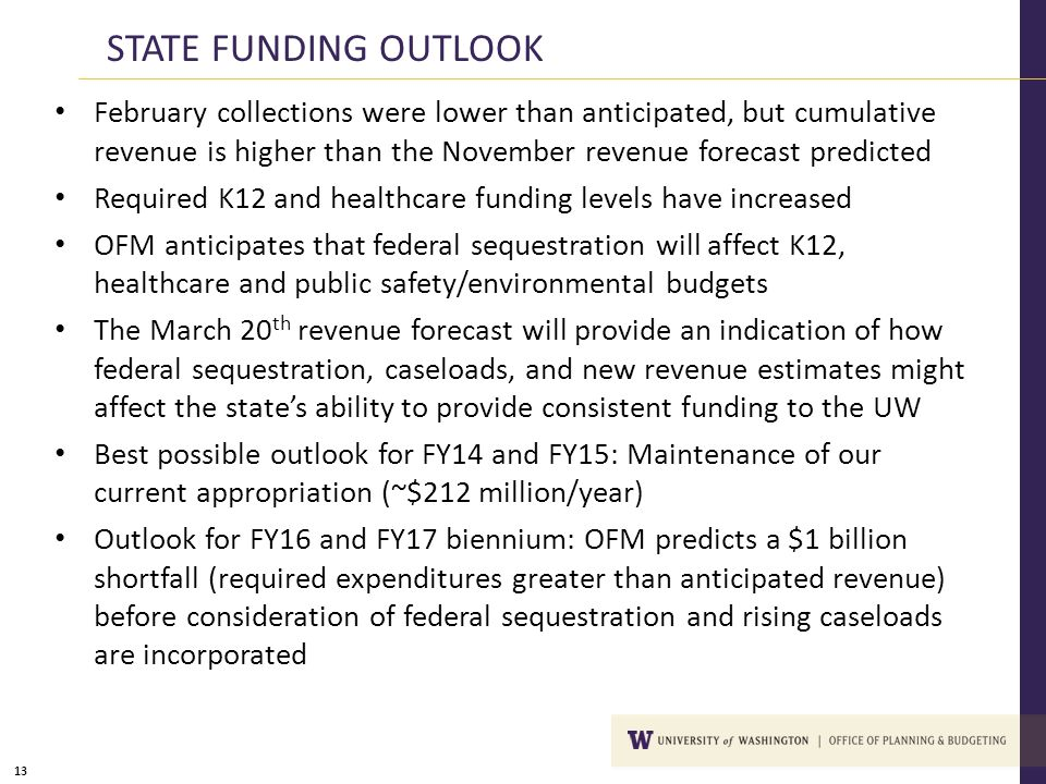 13 STATE FUNDING OUTLOOK February collections were lower than anticipated, but cumulative revenue is higher than the November revenue forecast predict