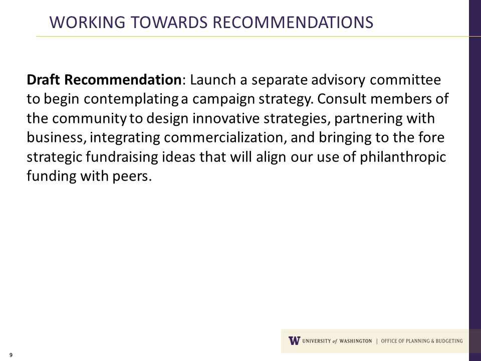 9 Draft Recommendation: Launch a separate advisory committee to begin contemplating a campaign strategy. Consult members of the community to design in