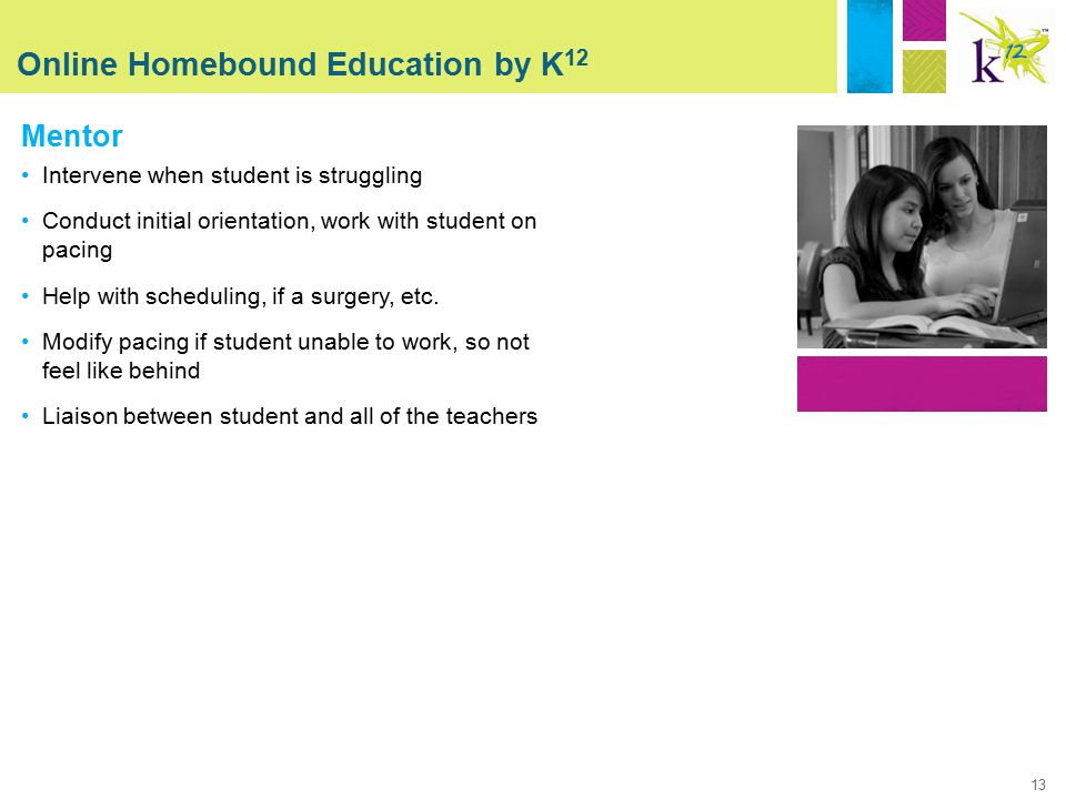 13 Online Homebound Education by K 12 Mentor Intervene when student is struggling Conduct initial orientation, work with student on pacing Help with scheduling, if a surgery, etc.