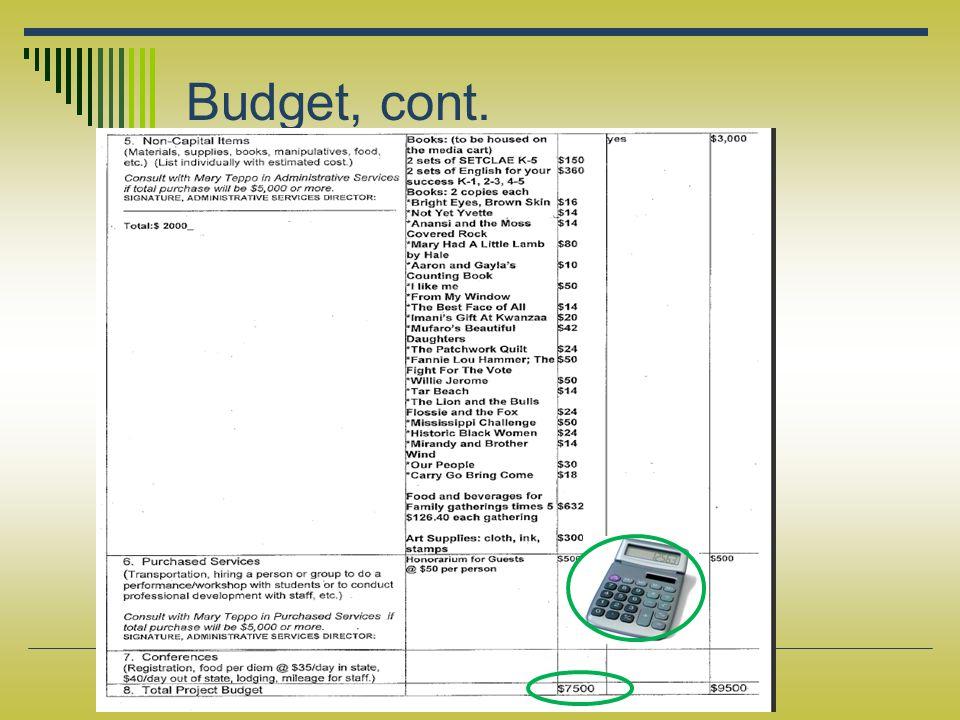 Budget, cont.