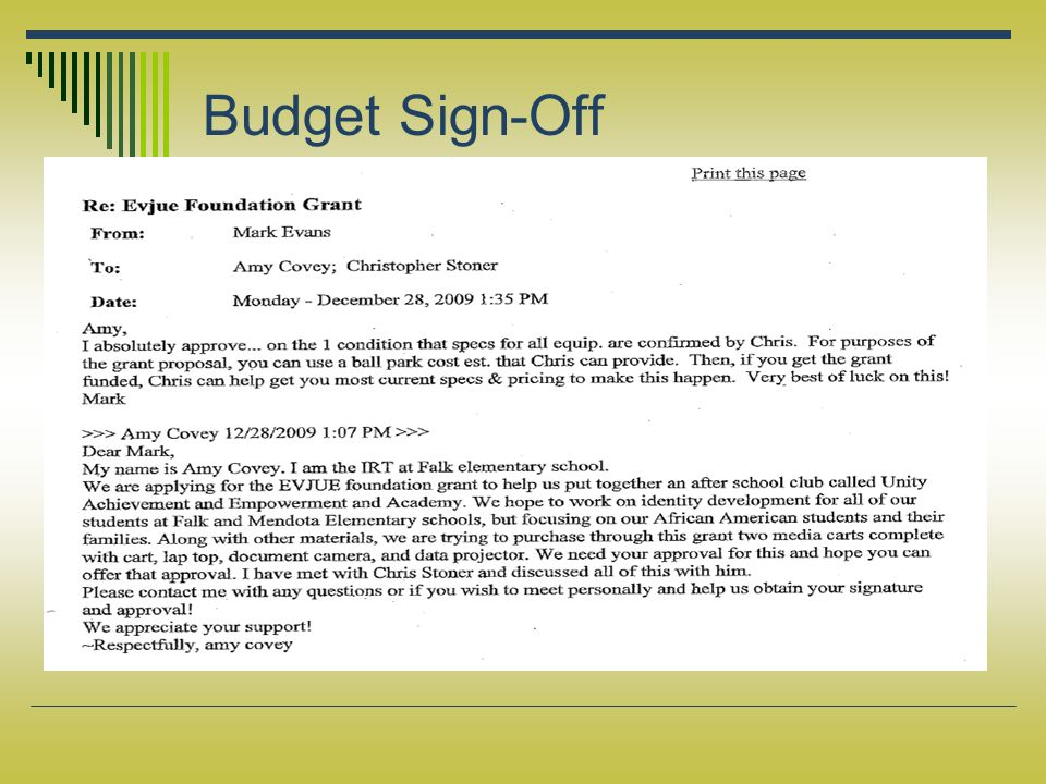 Budget Sign-Off