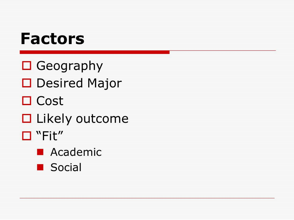 Factors  Geography  Desired Major  Cost  Likely outcome  Fit Academic Social