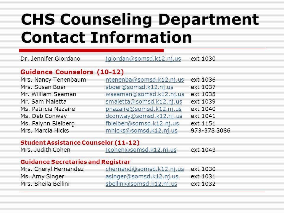 CHS Counseling Department Contact Information Dr.