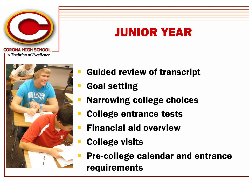 JUNIOR YEAR  Guided review of transcript  Goal setting  Narrowing college choices  College entrance tests  Financial aid overview  College visits  Pre-college calendar and entrance requirements