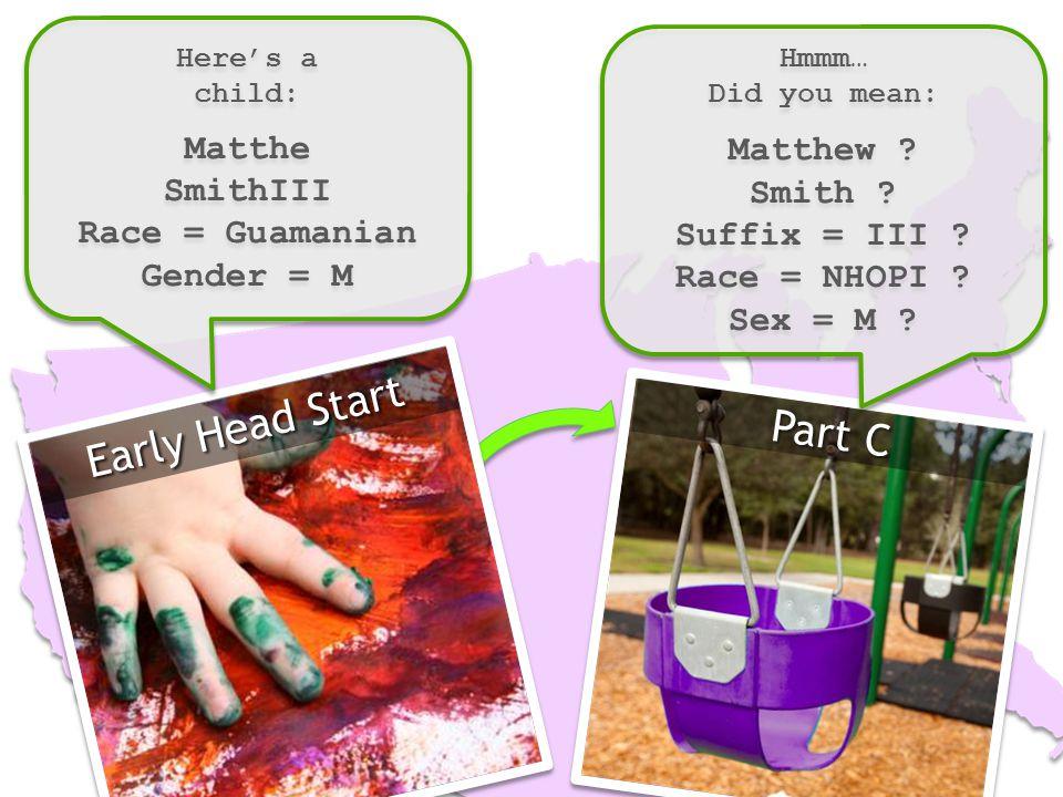 Early Head Start Here's a child: Matthe SmithIII Race = Guamanian Gender = M Here's a child: Matthe SmithIII Race = Guamanian Gender = M Part C Hmmm… Did you mean: Matthew .
