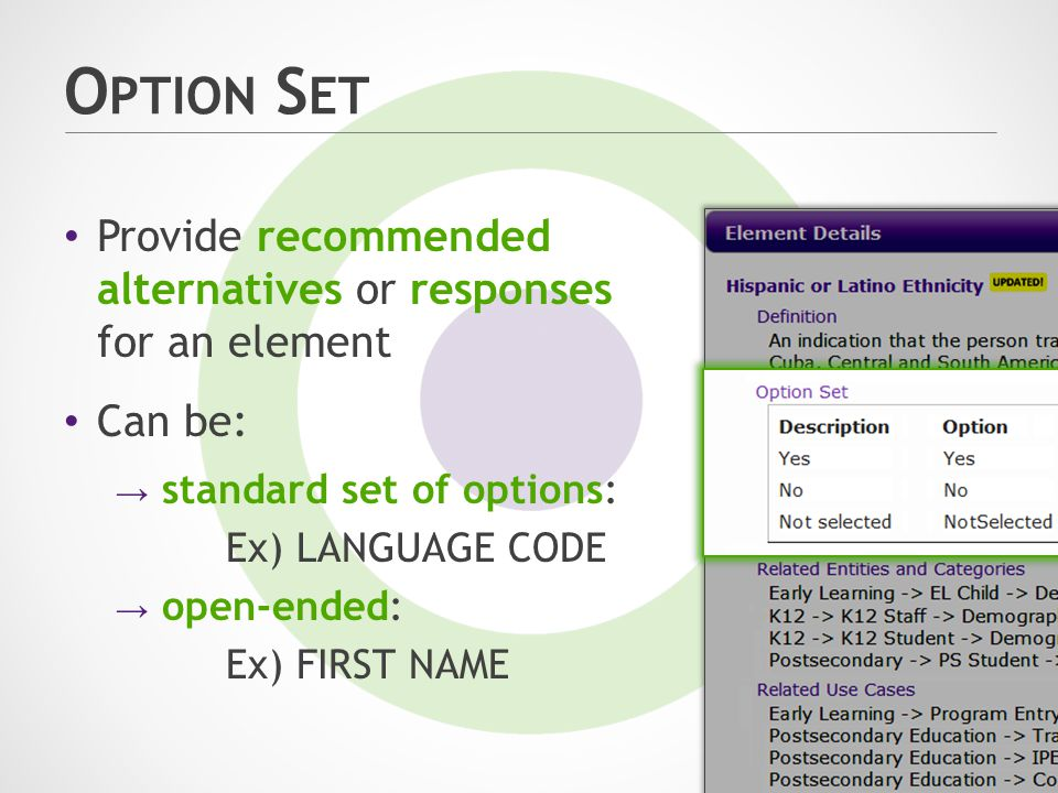 O PTION S ET Can be: → standard set of options: Ex) LANGUAGE CODE → open-ended: Ex) FIRST NAME