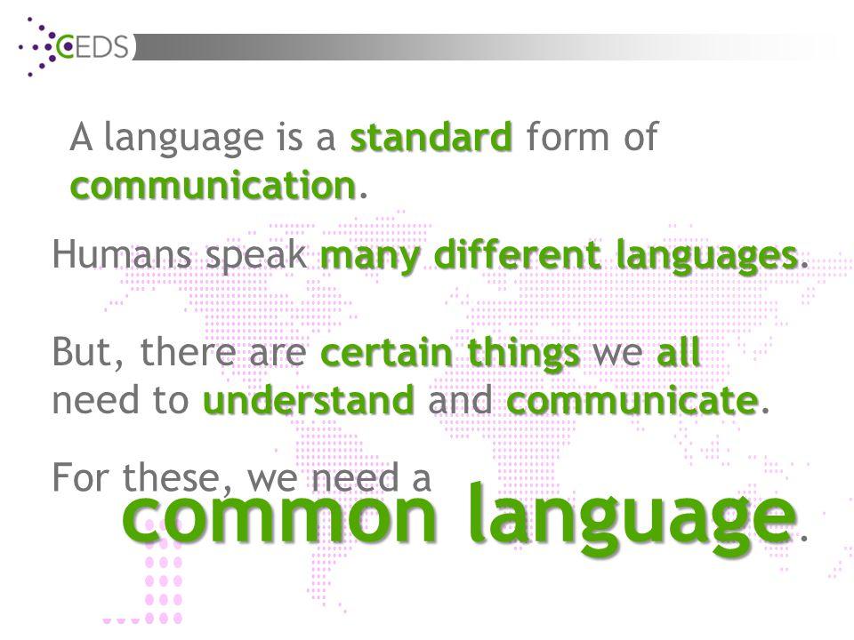 standard communication A language is a standard form of communication.