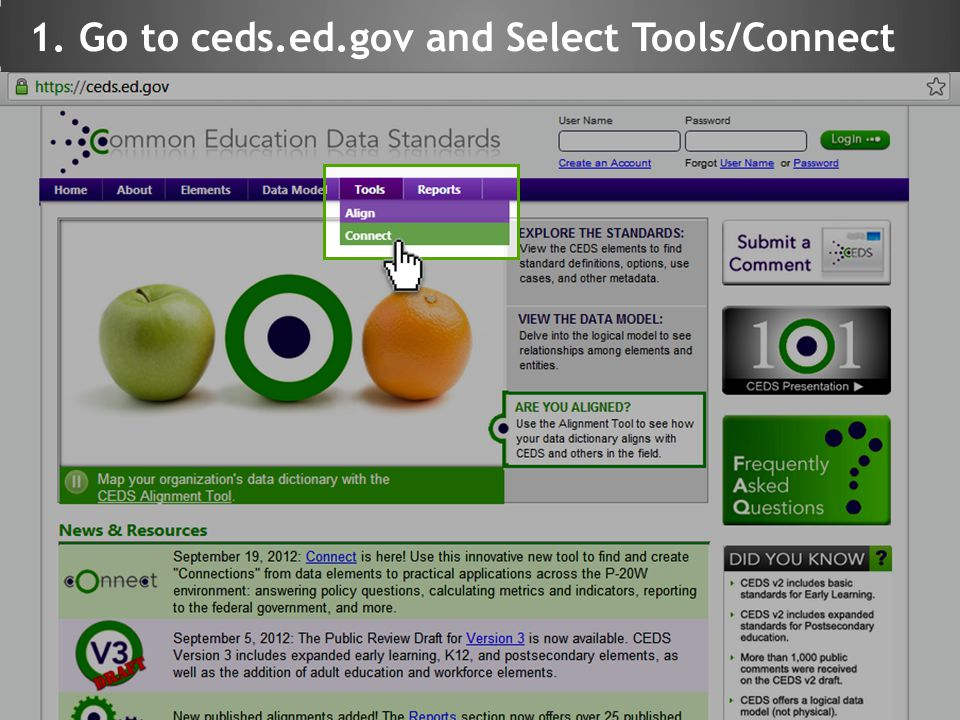 1. Go to ceds.ed.gov and Select Tools/Connect