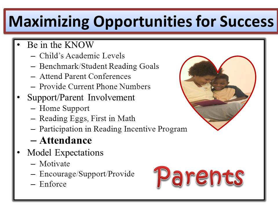 Be in the KNOW – Child's Academic Levels – Benchmark/Student Reading Goals – Attend Parent Conferences – Provide Current Phone Numbers Support/Parent Involvement – Home Support – Reading Eggs, First in Math – Participation in Reading Incentive Program – Attendance Model Expectations – Motivate – Encourage/Support/Provide – Enforce Maximizing Opportunities for Success