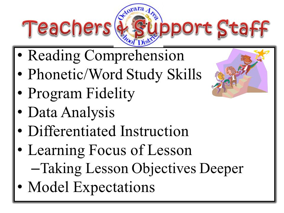 Reading Comprehension Phonetic/Word Study Skills Program Fidelity Data Analysis Differentiated Instruction Learning Focus of Lesson – Taking Lesson Ob