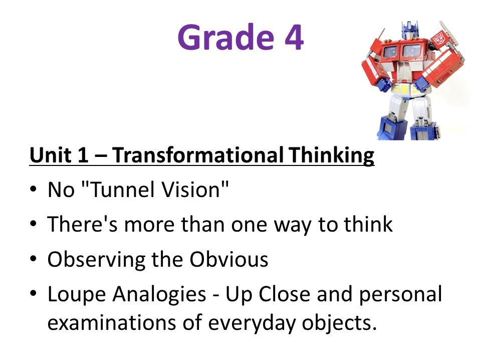 Grade 4 Unit 1 – Transformational Thinking No
