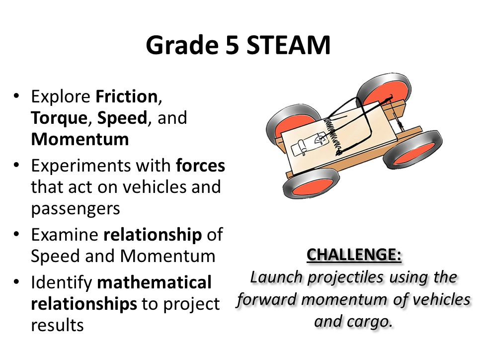 Grade 5 STEAM Explore Friction, Torque, Speed, and Momentum Experiments with forces that act on vehicles and passengers Examine relationship of Speed and Momentum Identify mathematical relationships to project results CHALLENGE: Launch projectiles using the forward momentum of vehicles and cargo.