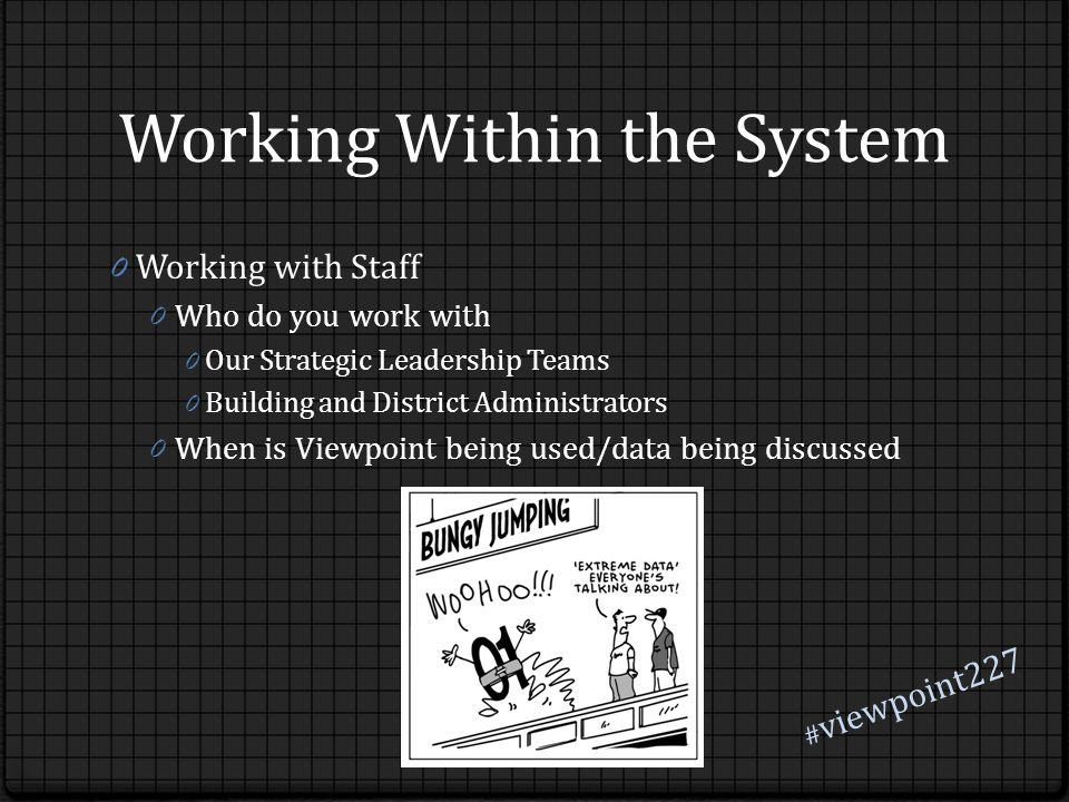 Working Within the System 0 Working with Staff 0 Who do you work with 0 Our Strategic Leadership Teams 0 Building and District Administrators 0 When is Viewpoint being used/data being discussed # viewpoint227