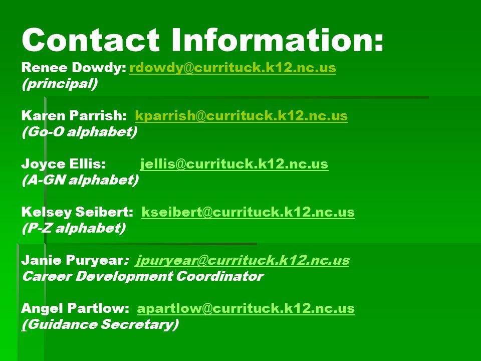 Contact Information: Renee Dowdy: rdowdy@currituck.k12.nc.us (principal) Karen Parrish: kparrish@currituck.k12.nc.us (Go-O alphabet) Joyce Ellis: jell