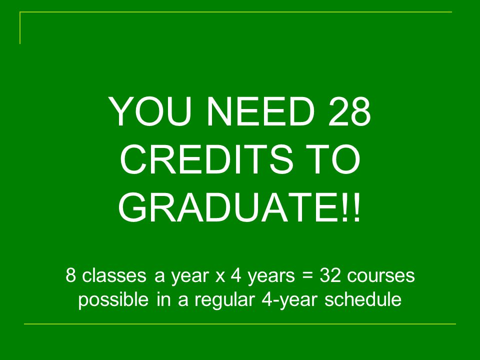 YOU NEED 28 CREDITS TO GRADUATE!.