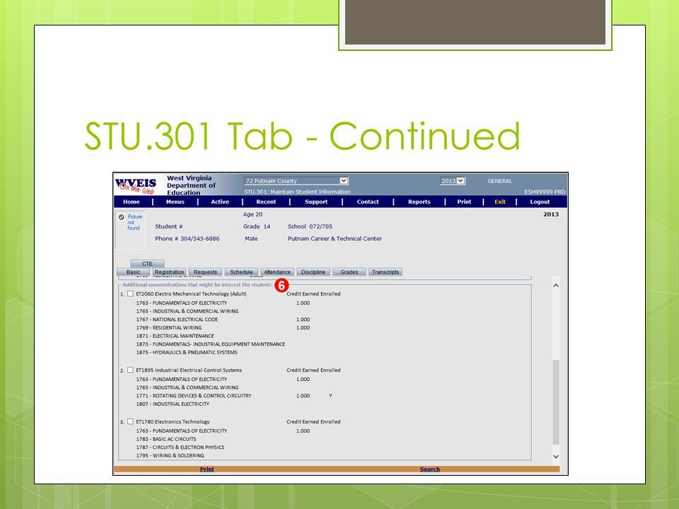 STU.301 Tab - Continued