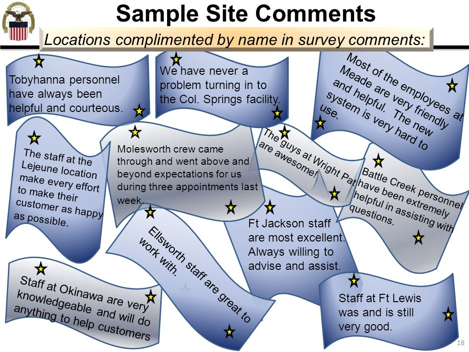 18 Sample Site Comments Locations complimented by name in survey comments: Tobyhanna personnel have always been helpful and courteous. We have never a