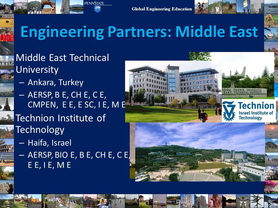 Global Engineering Education Engineering Partners: Middle East Middle East Technical University – Ankara, Turkey – AERSP, B E, CH E, C E, CMPEN, E E,