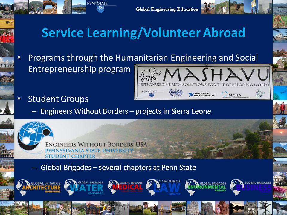 Global Engineering Education Service Learning/Volunteer Abroad Programs through the Humanitarian Engineering and Social Entrepreneurship program Stude