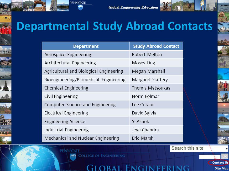 Global Engineering Education Departmental Study Abroad Contacts DepartmentStudy Abroad Contact Aerospace EngineeringRobert Melton Architectural Engine
