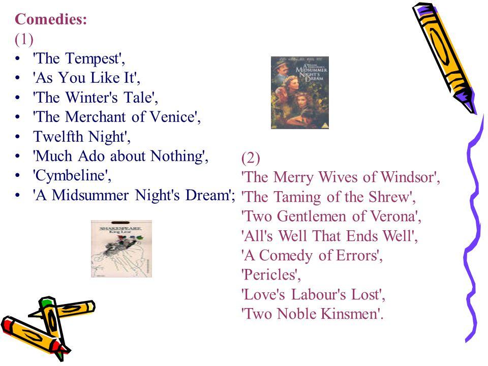 Tragedies: (1) Hamlet , Macbeth , King Lear , Othello ; (2) Antony and Cleopatra , Coriolanus , Romeo and Juliet , Julius Caesar ; (3) Richard II , Richard III , Timon of Athens ; (4) King John , Titus Andronicus , Henry VI .