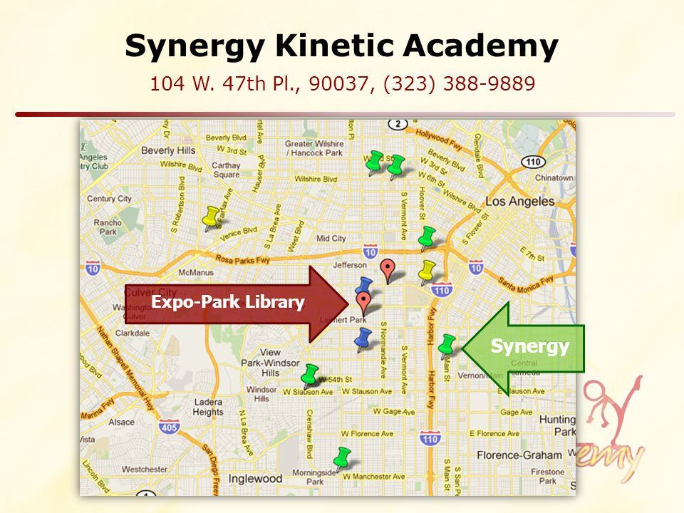Synergy Kinetic Academy 104 W. 47th Pl., 90037, (323) 388-9889 Synergy Expo-Park Library