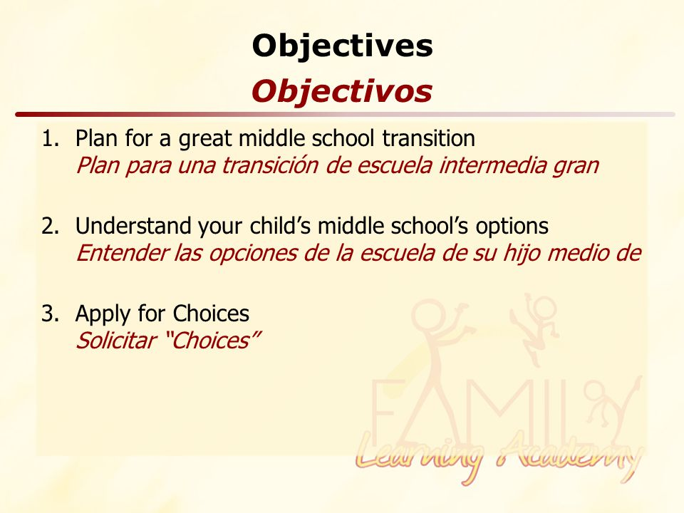Objectives 1.Plan for a great middle school transition Plan para una transición de escuela intermedia gran 2.Understand your child's middle school's options Entender las opciones de la escuela de su hijo medio de 3.Apply for Choices Solicitar Choices Objectivos