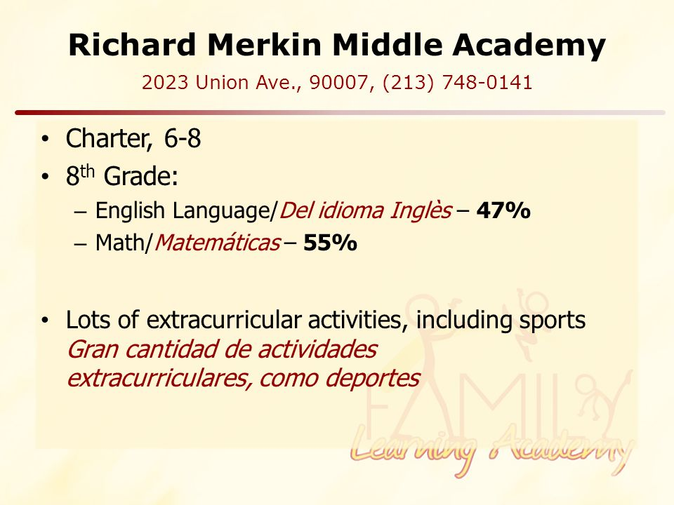 Richard Merkin Middle Academy Charter, 6-8 8 th Grade: – English Language/Del idioma Inglès – 47% – Math/Matemáticas – 55% Lots of extracurricular activities, including sports Gran cantidad de actividades extracurriculares, como deportes 2023 Union Ave., 90007, (213) 748-0141