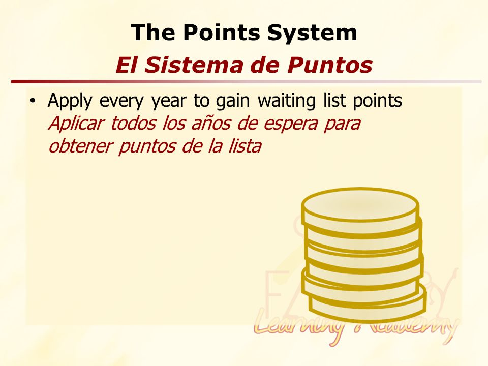 The Points System Apply every year to gain waiting list points Aplicar todos los años de espera para obtener puntos de la lista El Sistema de Puntos