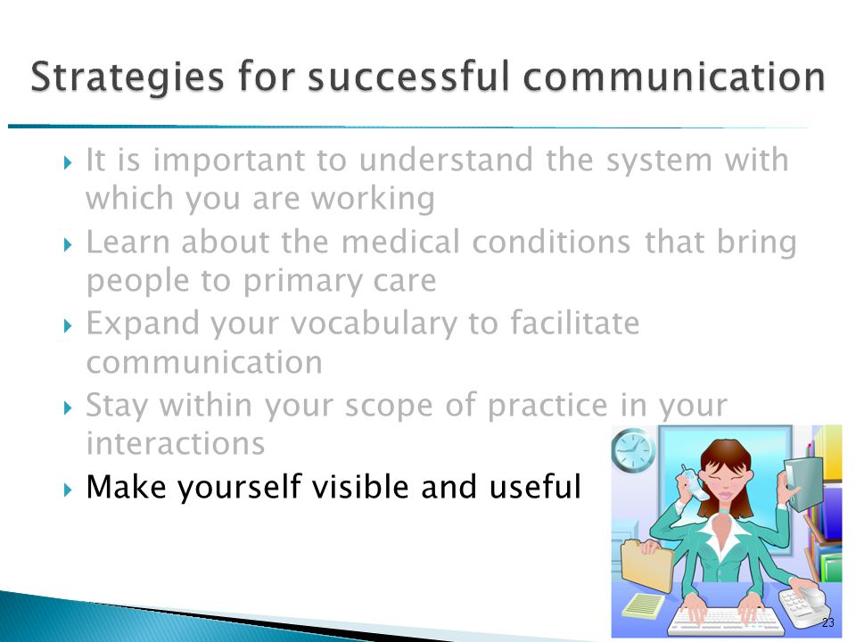  It is important to understand the system with which you are working  Learn about the medical conditions that bring people to primary care  Expand your vocabulary to facilitate communication  Stay within your scope of practice in your interactions  Make yourself visible and useful 23