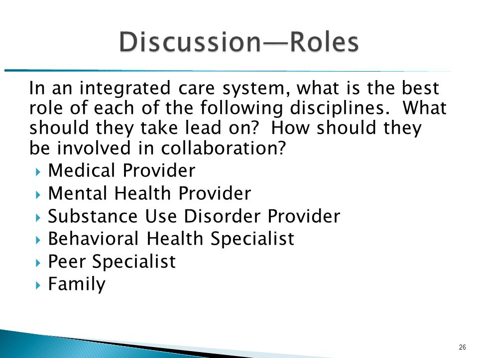 In an integrated care system, what is the best role of each of the following disciplines.