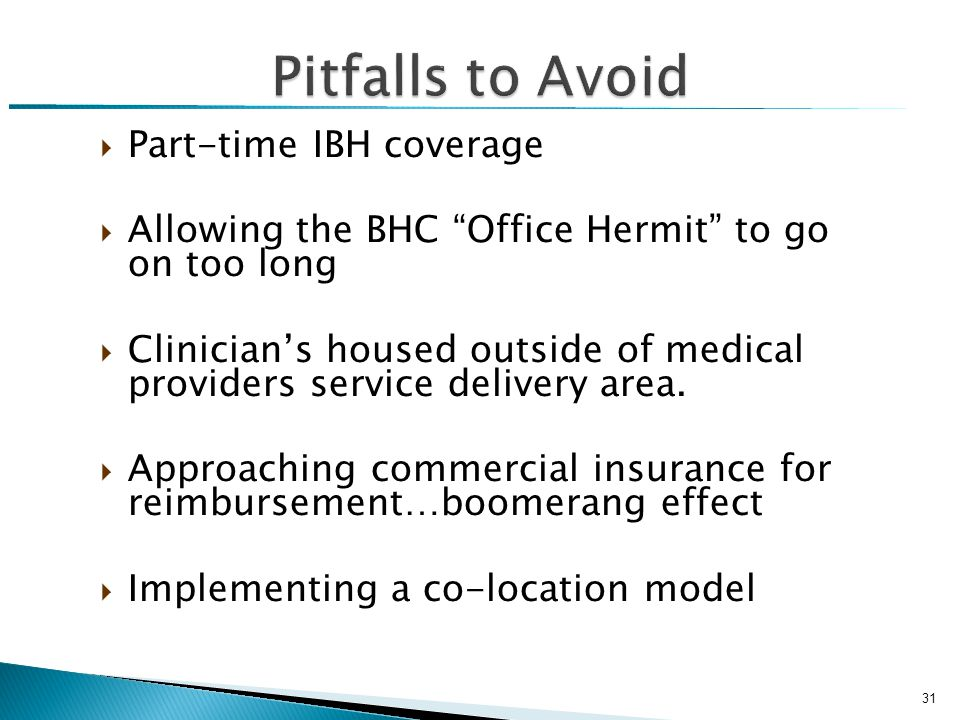  Part-time IBH coverage  Allowing the BHC Office Hermit to go on too long  Clinician's housed outside of medical providers service delivery area.