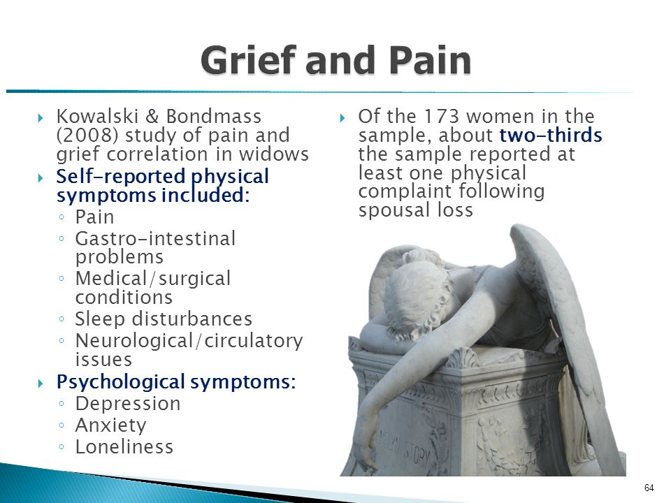  Kowalski & Bondmass (2008) study of pain and grief correlation in widows  Self-reported physical symptoms included: ◦ Pain ◦ Gastro-intestinal problems ◦ Medical/surgical conditions ◦ Sleep disturbances ◦ Neurological/circulatory issues  Psychological symptoms: ◦ Depression ◦ Anxiety ◦ Loneliness  Of the 173 women in the sample, about two-thirds the sample reported at least one physical complaint following spousal loss Kowalski & Bondmass, 2008 64