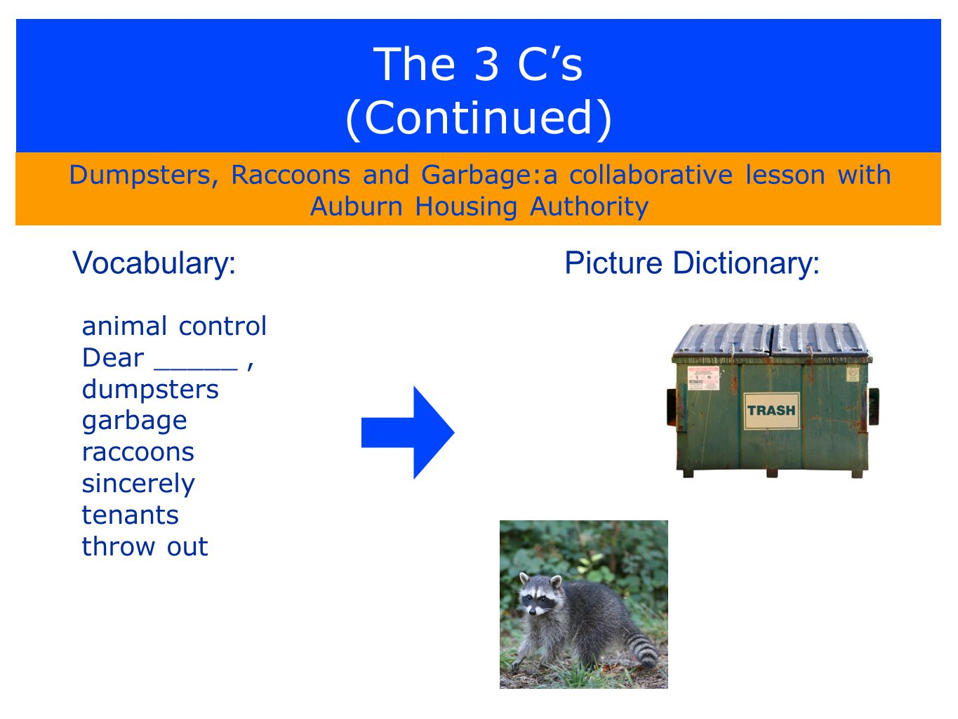 The 3 C's (Continued) Dumpsters, Raccoons and Garbage:a collaborative lesson with Auburn Housing Authority animal control Dear _____, dumpsters garbage raccoons sincerely tenants throw out Vocabulary:Picture Dictionary: