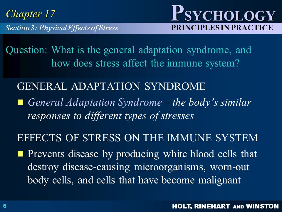 HOLT, RINEHART AND WINSTON P SYCHOLOGY PRINCIPLES IN PRACTICE 5 Chapter 17 Question: What is the general adaptation syndrome, and how does stress affe