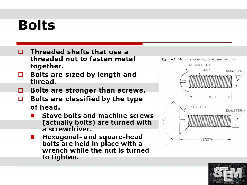 Bolts  Threaded shafts that use a threaded nut to fasten metal together.  Bolts are sized by length and thread.  Bolts are stronger than screws. 