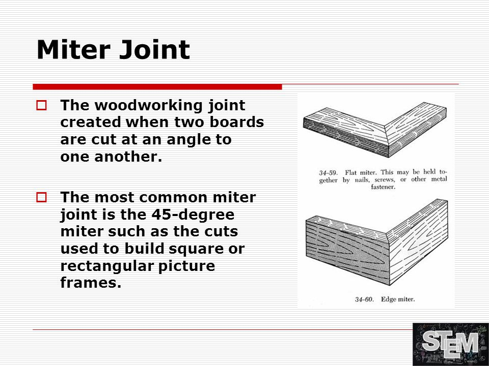Miter Joint  The woodworking joint created when two boards are cut at an angle to one another.  The most common miter joint is the 45-degree miter s