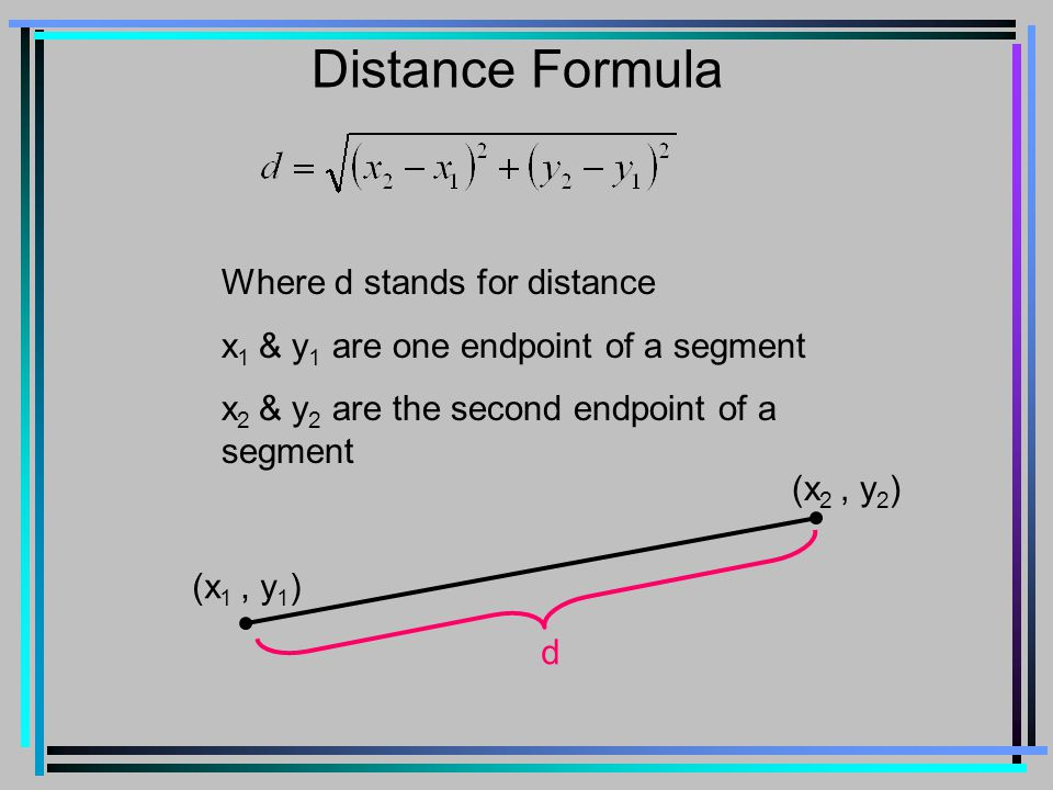 Distance Formula Where d stands for distance x 1 & y 1 are one endpoint of a segment x 2 & y 2 are the second endpoint of a segment (x 1, y 1 ) (x 2, y 2 ) d