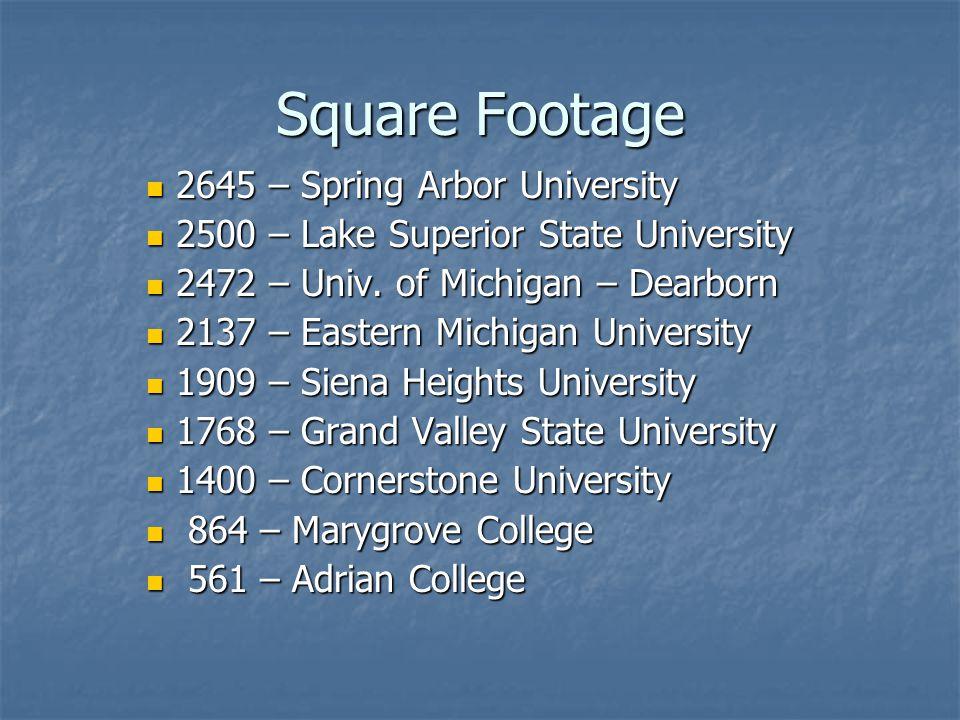 Square Footage 2645 – Spring Arbor University 2645 – Spring Arbor University 2500 – Lake Superior State University 2500 – Lake Superior State University 2472 – Univ.