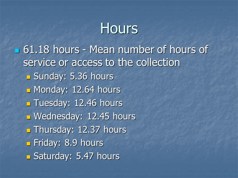 Hours 61.18 hours - Mean number of hours of service or access to the collection 61.18 hours - Mean number of hours of service or access to the collection Sunday: 5.36 hours Sunday: 5.36 hours Monday: 12.64 hours Monday: 12.64 hours Tuesday: 12.46 hours Tuesday: 12.46 hours Wednesday: 12.45 hours Wednesday: 12.45 hours Thursday: 12.37 hours Thursday: 12.37 hours Friday: 8.9 hours Friday: 8.9 hours Saturday: 5.47 hours Saturday: 5.47 hours
